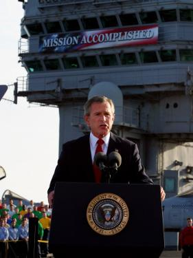 President Bush Declares the End of Major Combat in Iraq as He Speaks Aboard the Aircraft Carrier