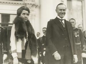 President Calvin and First Lady Grace Coolidge at the 1928 White House New Year's Reception