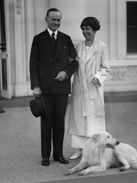 President Calvin and Grace Coolidge Acknowledge Greetings from Crowd on Nov. 5, 1924