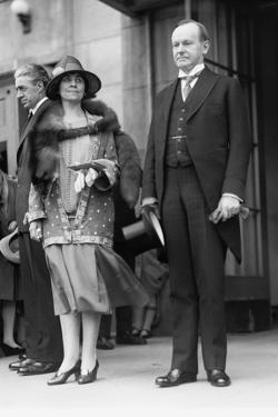 President Calvin Coolidge and First Lady Grace Coolidge Attending Easter Services. April 17, 1927
