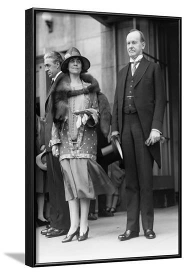 President Calvin Coolidge and First Lady Grace Coolidge Attending Easter Services. April 17, 1927--Framed Photo