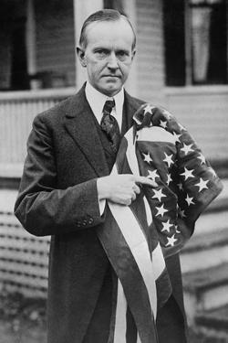 President Calvin Coolidge Holding an American Flag. May 2, 1924