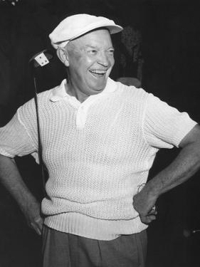 President Dwight Eisenhower Smiling While Golfing, Ca. 1954