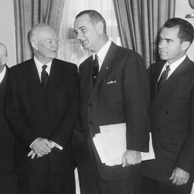 President Eisenhower and Future Presidents Lyndon Johnson and Richard Nixon
