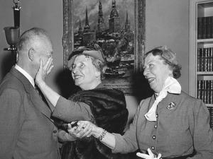 President Eisenhower with Helen Keller and Her Aide Polly Thompson