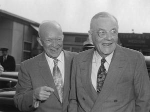 President Eisenhower with Secretary of State John Foster Dulles at Washington Airport