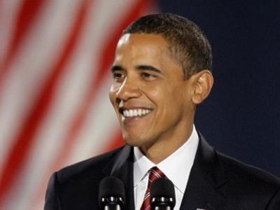 President-Elect Barack Obama Smiles During Acceptance Speech, Nov 4, 2008
