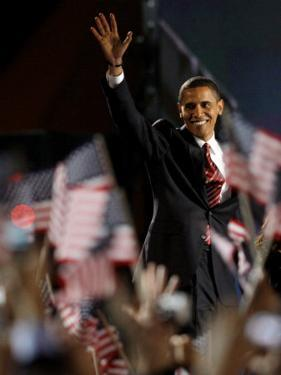 President-Elect Barack Obama Walking onto Stage to Deliver Acceptance Speech, Nov 4, 2008