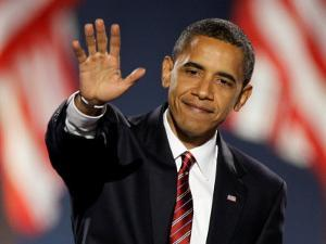 President-Elect Barack Obama Waves after Acceptance Speech, Nov 4, 2008