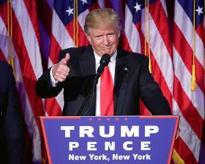 President-elect Donald Trump gives thumbs up during acceptance speech at event 11/9/16, NYC