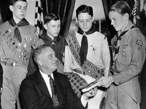 President Franklin Roosevelt Receives the Five-Millionth Copy of the Boy Scout Handbook