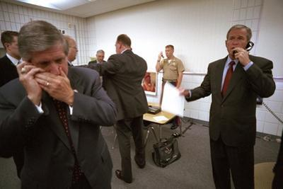 President George W. Bush and Senior Staff on Phones after Learning of the 9-11 Terrorist Attacks