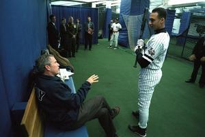 President George W. Bush Derek Jeter before the First Pitch in Game 3 of the World Series