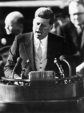 President John F. Kennedy Delivers Inaugural Address after Taking Oath of Office, January 20, 1961