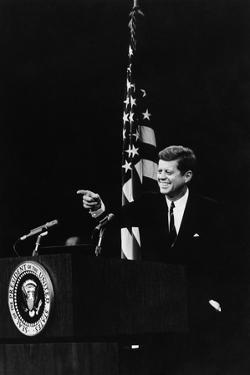 President Kennedy Pointing to a Reporter During a Press Conference, 1961-63