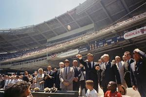 President Kennedy Throws Out First Ball of the 32nd All-Star Game, July 10, 1962