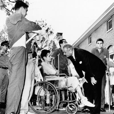 President Lyndon Johnson Greets Wounded Veterans at Walter Reed Hospital