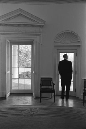 President Lyndon Johnson Looking Out Doorway of the Oval Office, Jan. 24, 1066