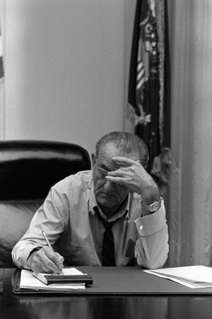 President Lyndon Johnson Making Notes in a Meeting, March 27, 1968