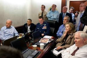 President Obama before statement to the media of the mission against Osama bin Laden, May 1, 2011