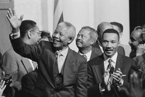 President of South Africa, Nelson Mandela with Members of the Congressional Black Caucus