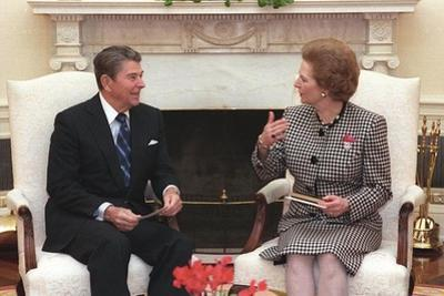 President Reagan Meeting with Prime Minister Margaret Thatcher in the Oval Office, Nov. 16, 1988