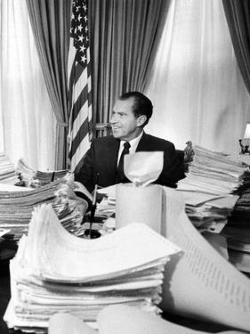 President Richard Nixon Sitting Among Stacks of Telegrams Supporting His Vietnam Policy
