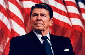 President Ronald Reagan (American Flag) Art Poster Print