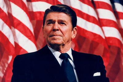President Ronald Reagan (American Flag) Plastic Sign