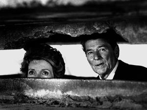 President Ronald Reagan and First Lady Nancy Reagan Peer out of a World War II Bunker