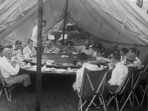 President Warren Harding Has Lunch in a Tent, with Thomas Edison and Henry Ford (On Right)