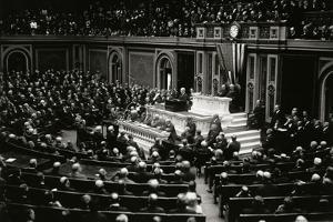 President Wilson Speaking to Congress