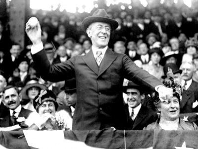 President Woodrow Wilson Throwing Out the First Ball, Opening Day, 1916