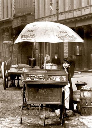 Pretzel Vendor, Duane Street, Manhattan, c.1918