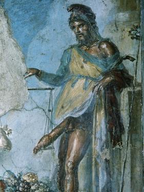 Priapus by Weighing His Penis. Fresco. Pompeii. Italy