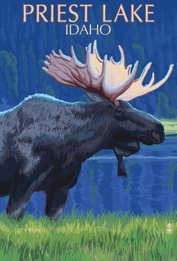 Priest Lake, Idaho - Moose At Night