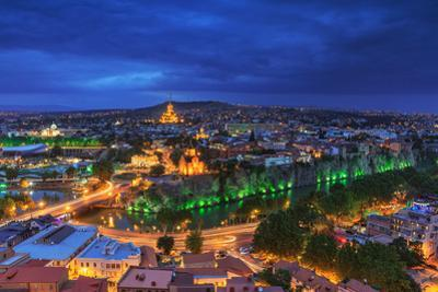 Evening View of Tbilisi from Narikala Fortress, Georgian Country by PrimePhoto