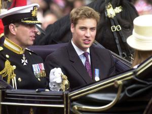 Prince Andrew and Prince William ride down the Mall towards St Paul's, 2002