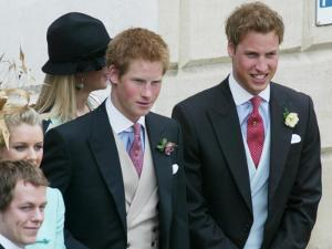 Prince Harry and Prince William after the wedding ceremony at Windsor Guildhall, for their father P