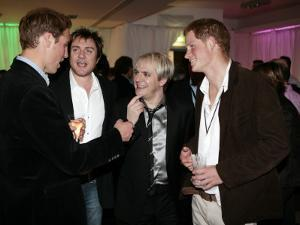 Prince Harry and Prince William with 80s pop band Duran Duran