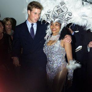 Prince William in Edinburgh with local dancer Luciana, Sept 2001