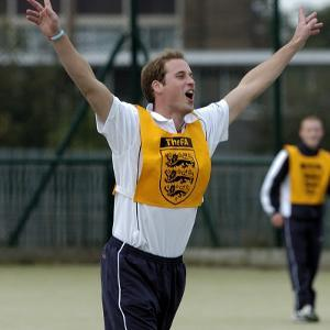 Prince William playing football at the FA Hat-Trick project in Newcastle upon Tyne