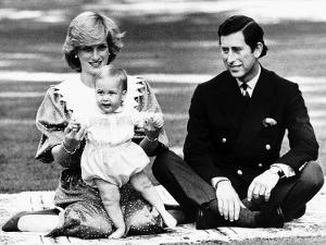 Prince William with Prince Charles and Princess Diana in Australia, April 1983