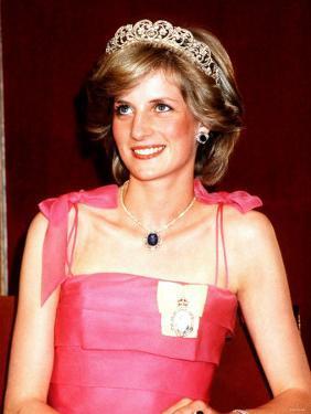 Princess Diana in Australia at the State Reception at Brisbane Wearing a Pink Dress and Tiara