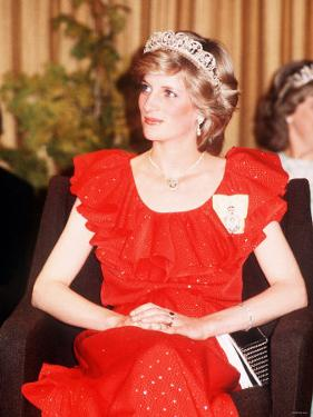 Princess Diana in Australia Tasmania at the State Reception in Wrest Point Hotel Wearing Red Dress