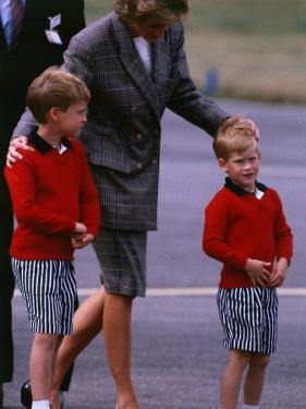 Princess Diana Princess of Wales arriving at Dyce Airport Aberdeen with Prince William and Prince H