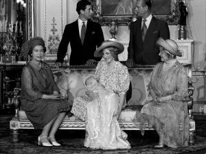Princess Diana with her new born son Prince William 1982 and husband Prince Charles Prince Philip Q