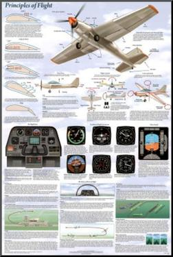 Principles of Flight Aerodynamic Educational Science Chart Poster