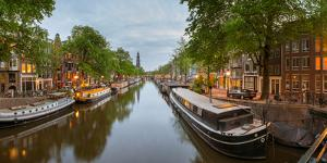Prinsengracht Canal at Dusk with Westerkerk in Distance, Amsterdam, North Holland, Netherlands