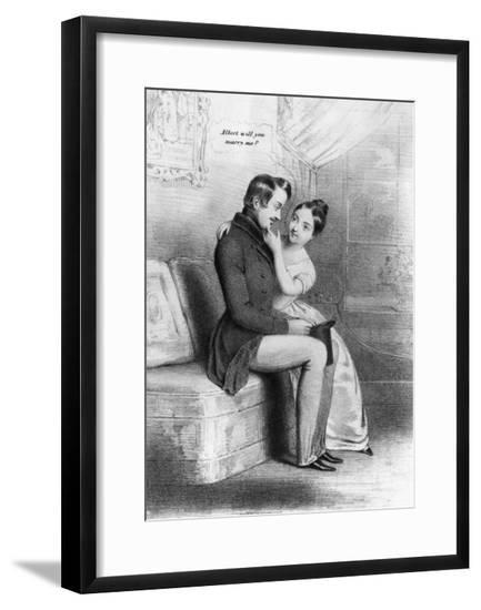 Print Depicting Queen Victoria's Marriage Proposal to Prince Albert--Framed Giclee Print